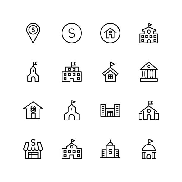 School flat icon School icon set. Collection of high quality black outline logo for web site design and mobile apps. Vector illustration on a white background. schoolhouse stock illustrations