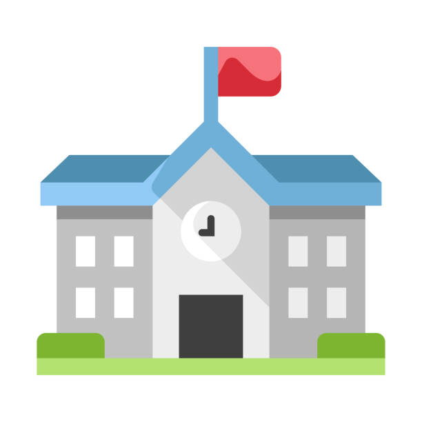 School flat illustration School with a red flag vector illustration in flat color design schoolhouse stock illustrations