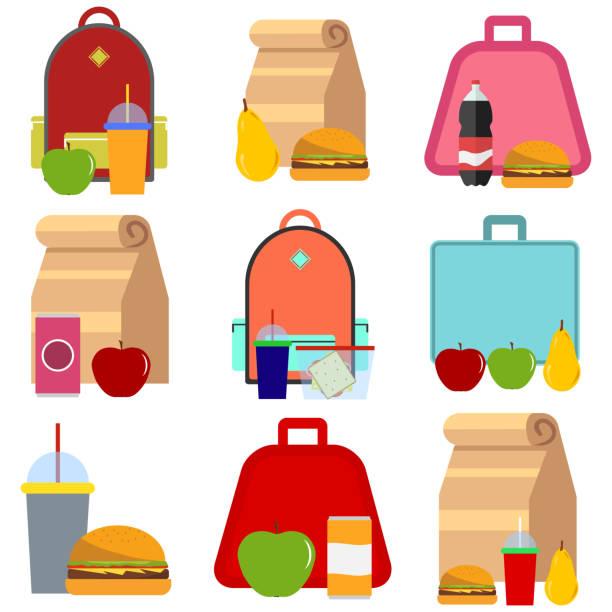 school food - lunch box stock illustrations, clip art, cartoons, & icons