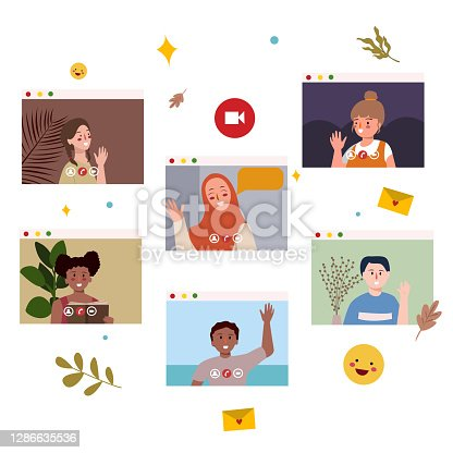 istock School from home people character on display screen monitor device white isolated background with flat color style 1286635536