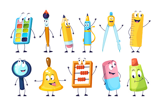 School funny office supplies characters. School stationery mascots with smile faces compass, book, marker, pen, backpack, eraser, globe, paints, calculator. Happy education supplies