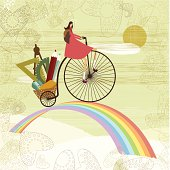 Little girl cycling to school over the rainbow.