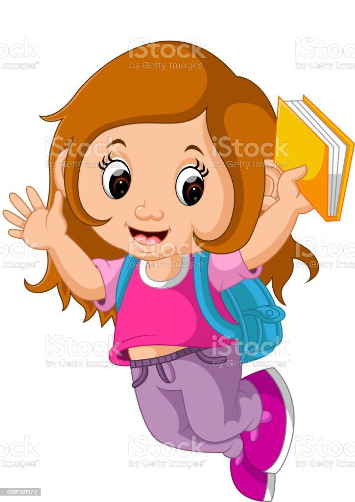 royalty free pink school bag on books clip art vector images rh istockphoto com school girl clipart images school girl clipart black and white