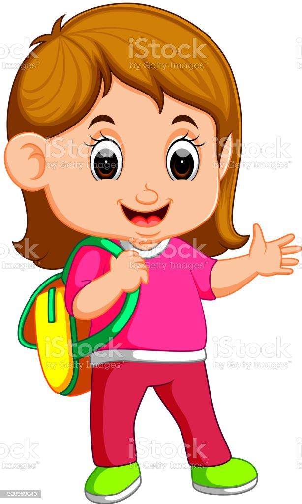 School girl cartoon walking vector art illustration