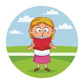 School girl cute cartoon