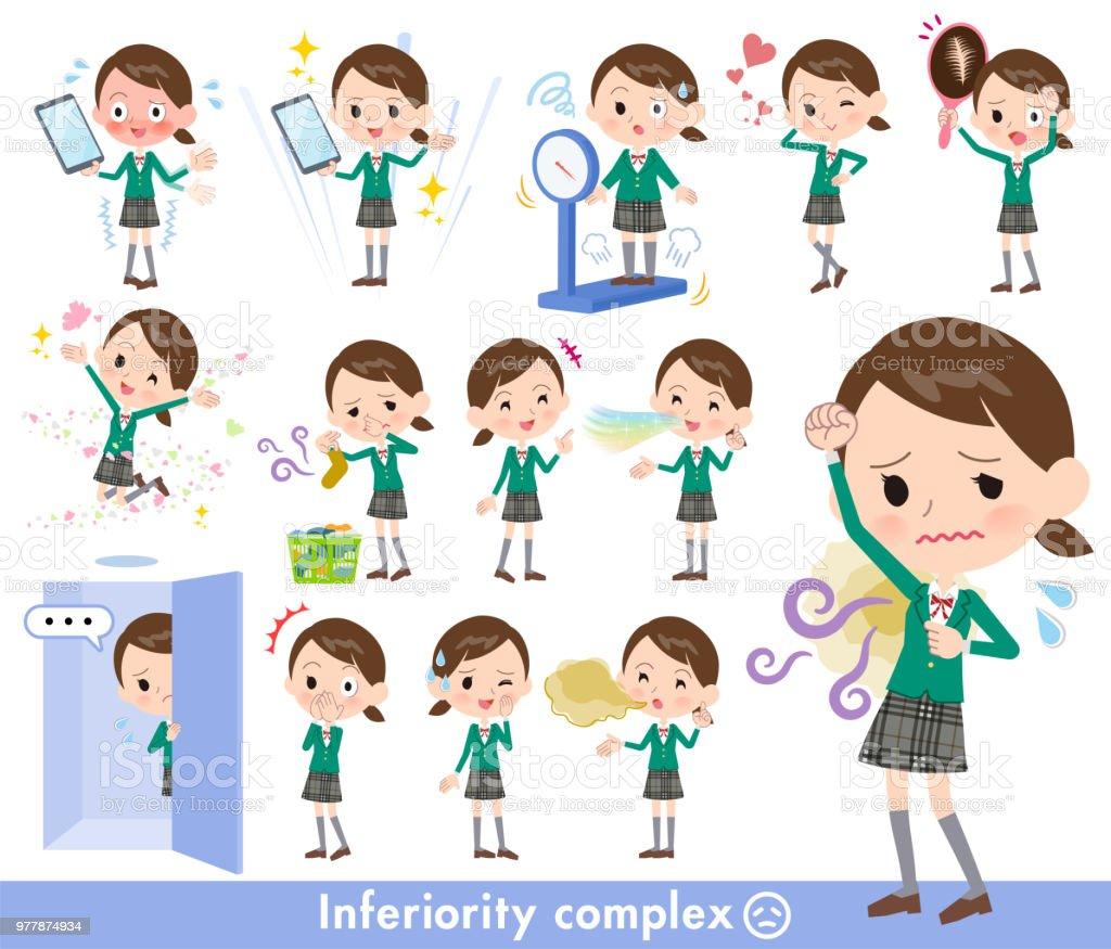 school girl Green Blazer_complex vector art illustration