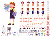 School girl in casual wear construction set. Cute small lady, active young kid, smart elementary pupil, 7, 9 year old creation elements to build own design. Cartoon flat style infographic illustration