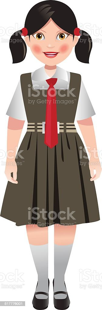 School girl in uniform vector art illustration