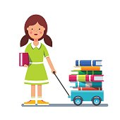 School girl pulling wagon cart with pile of books