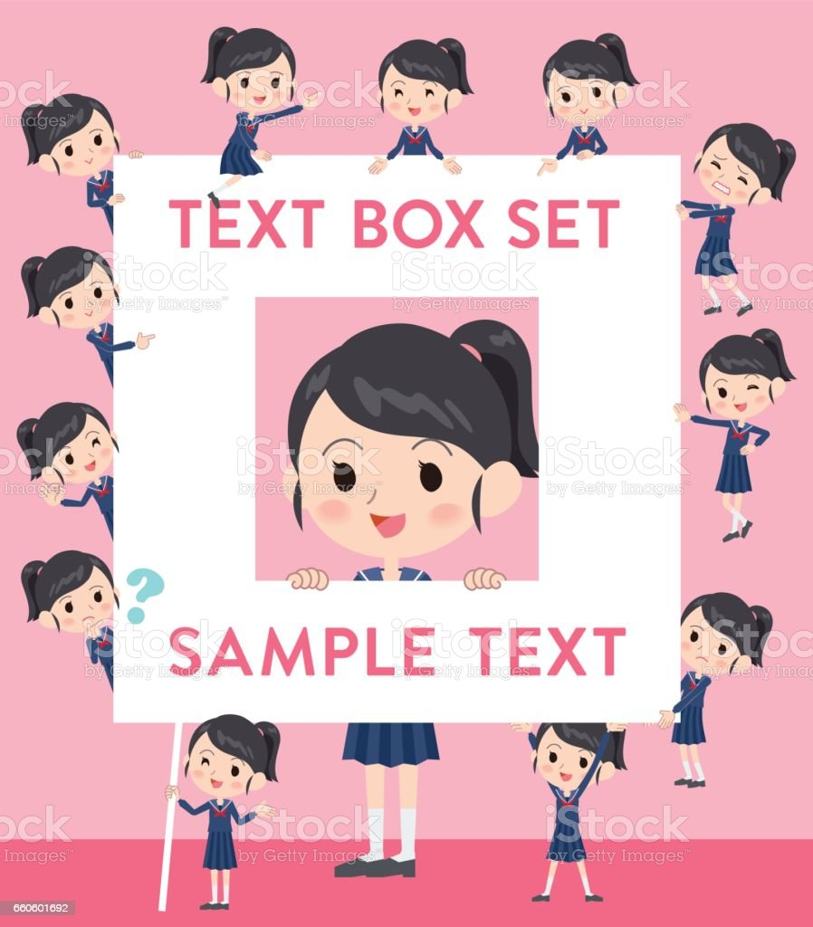 school girl Sailor suit text box royalty-free school girl sailor suit text box stock vector art & more images of adult