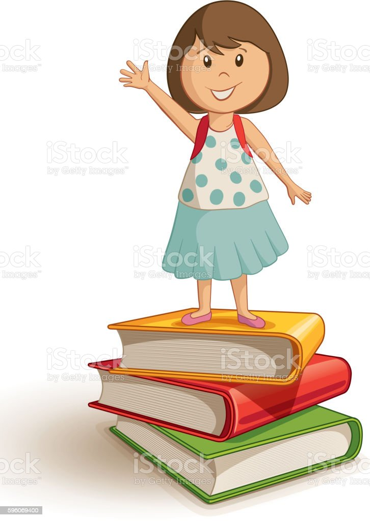 School girl standing on the book stack. royalty-free school girl standing on the book stack stock vector art & more images of backpack