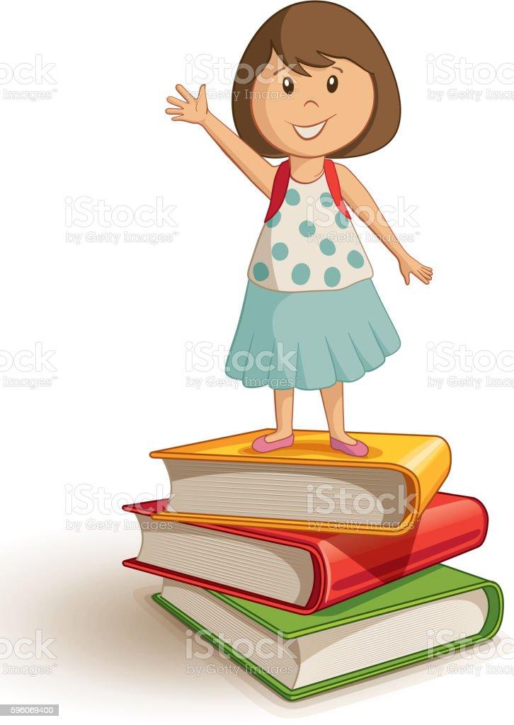 School girl standing on the book stack. vector art illustration