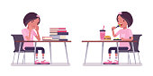 School girl studying and eating at the desk. Cute small lady in pink tshirt, active young kid, smart elementary pupil aged between 7, 9 years old. Vector flat style cartoon illustration