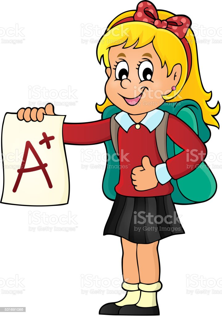 school girl with a plus grade theme 1 stock vector art more images rh istockphoto com middle school girl clipart happy school girl clipart