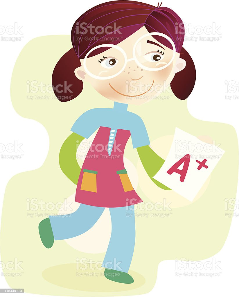 School Girl with test result royalty-free stock vector art