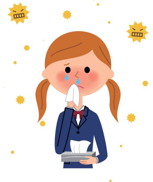 花粉症女子校生 - くしゃみ 日本人点のイラスト素材/クリップアート素材/マンガ素材/アイコン素材