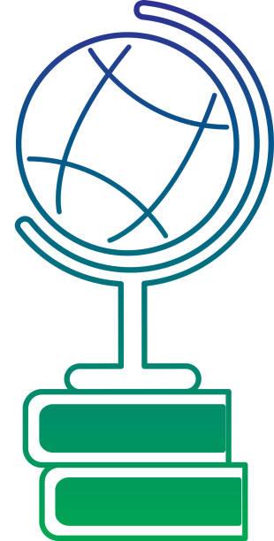 schule-globe-karte und buch elementare studie - stiftehalter stock-grafiken, -clipart, -cartoons und -symbole