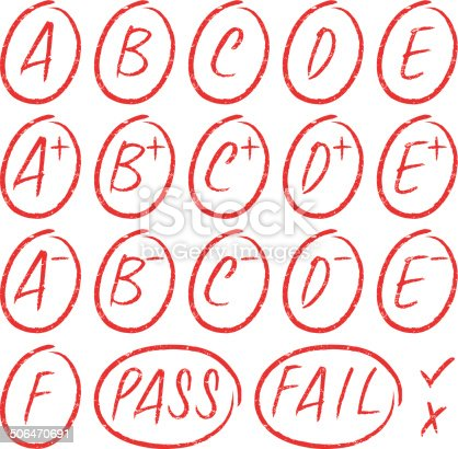 School grades rubber stamps.