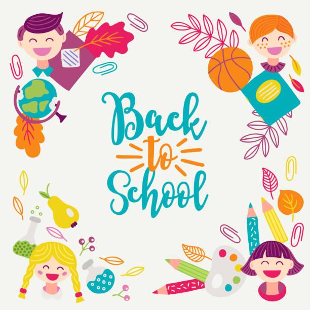 schule grußkarte mit ecke ornament - junge, mädchen, globus, blätter - hausfarbpaletten stock-grafiken, -clipart, -cartoons und -symbole