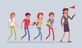 School group excursion. Students and a teacher taking a short journey or trip outdoor, walking in a line for educational daytrip, enjoy summer activity. Vector flat style cartoon illustration