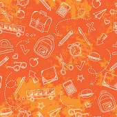 seamless pattern with grungy texture and school doodles