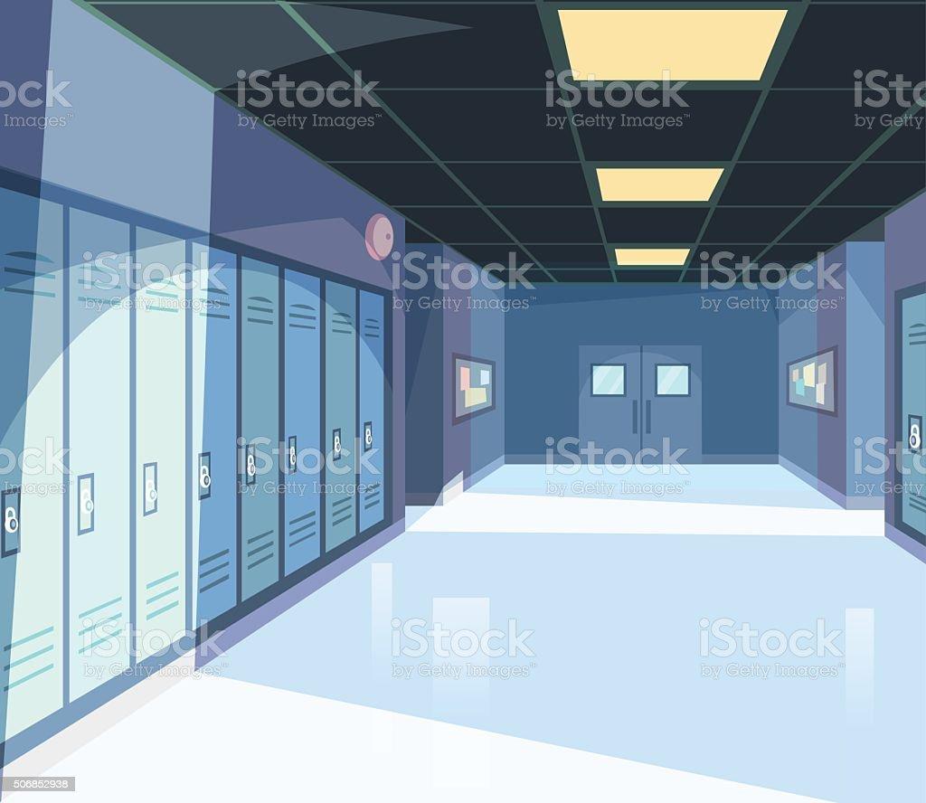学校の廊下 ベクターアートイラスト