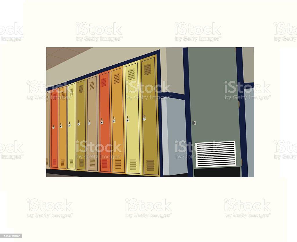 School Hallway vector art illustration