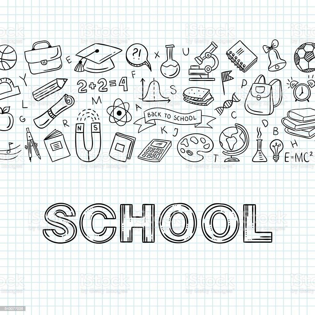 Iconos de la escuela dibujado a mano. La educación vector objetos. Vuelta a la escuela - ilustración de arte vectorial