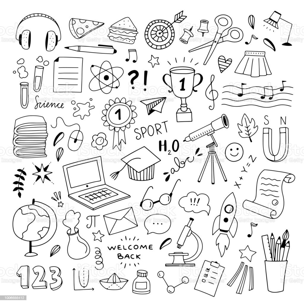 School hand drawn illustrations vector set. Outline school and...