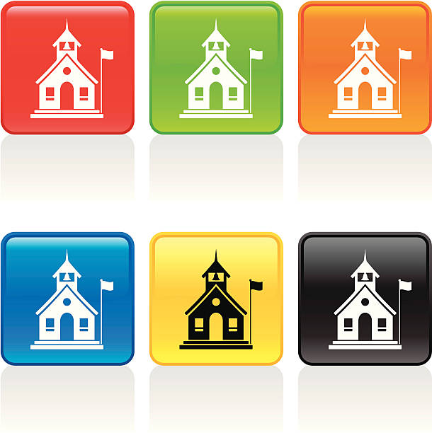 School House Icon School house with flag. See more icons in this series. schoolhouse stock illustrations