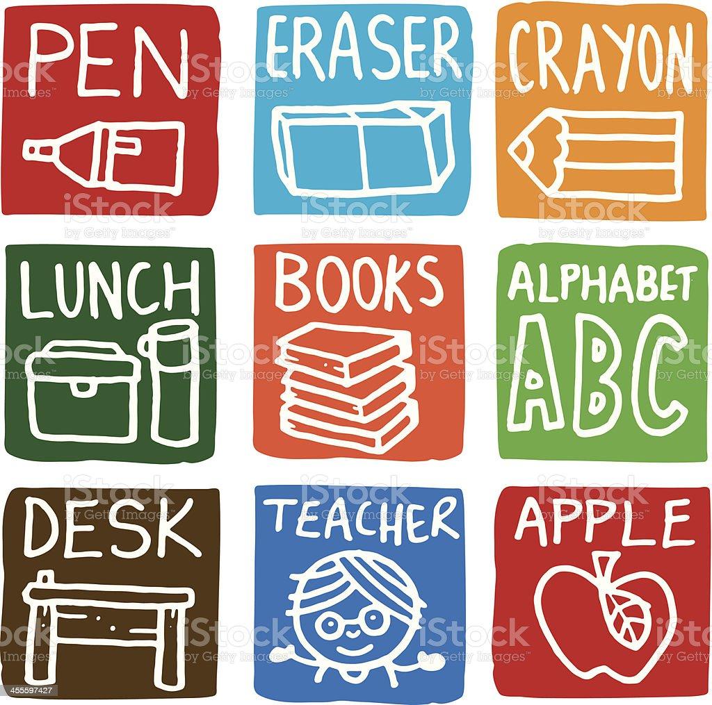 School icon blocks vector art illustration