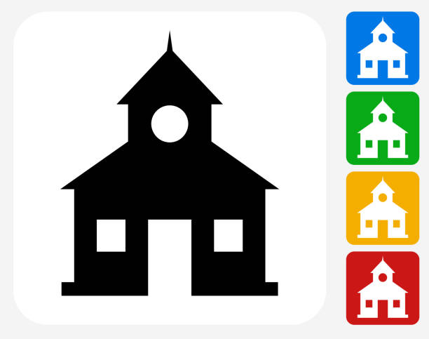 School Icon Flat Graphic Design School Icon. This 100% royalty free vector illustration features the main icon pictured in black inside a white square. The alternative color options in blue, green, yellow and red are on the right of the icon and are arranged in a vertical column. schoolhouse stock illustrations