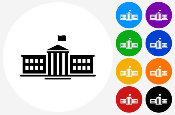 school icon on flat color circle buttons - gymnasium stock-grafiken, -clipart, -cartoons und -symbole