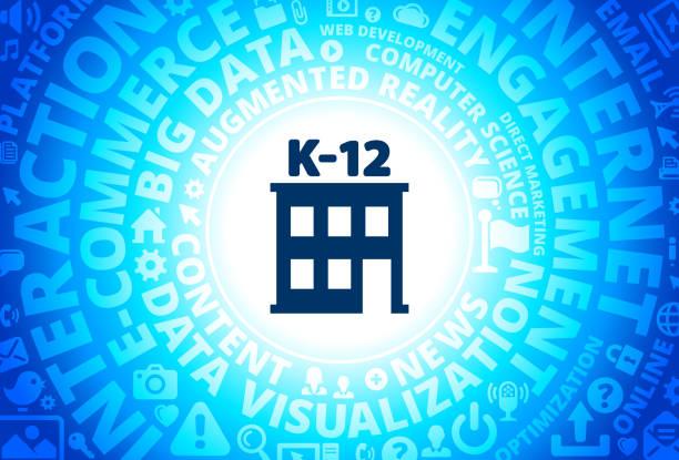 インターネット現代技術の言葉の背景にある k-12 学校アイコン - 中学校点のイラスト素材/クリップアート素材/マンガ素材/アイコン素材