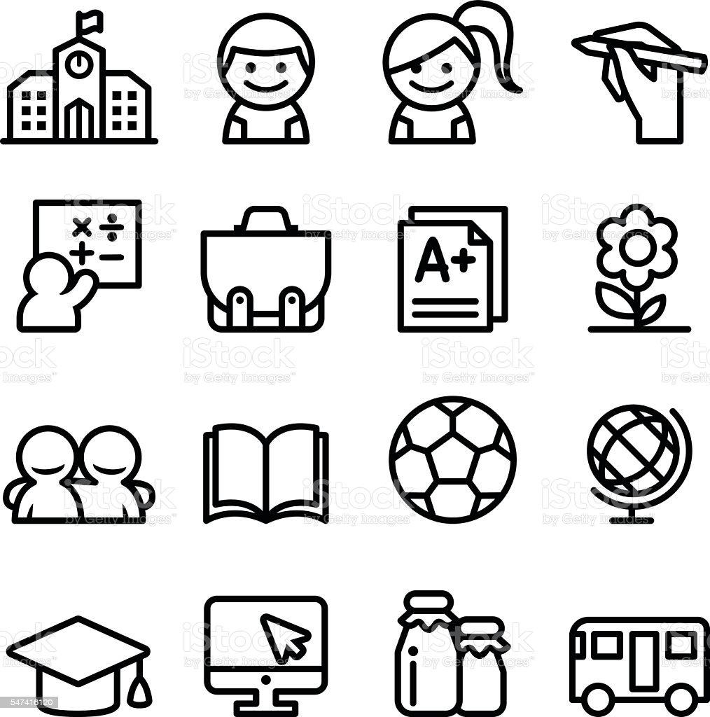 School icon set , thin line icon vector illustration vector art illustration