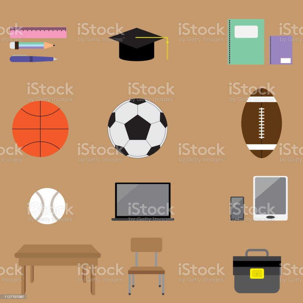Conjunto de ícones de escola - ilustração de arte em vetor