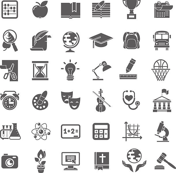 School Icons Flat Dark Outline Silhouettes Set of flat outline monochrome silhouette vector icons of school subjects, education and science symbols. back lit stock illustrations