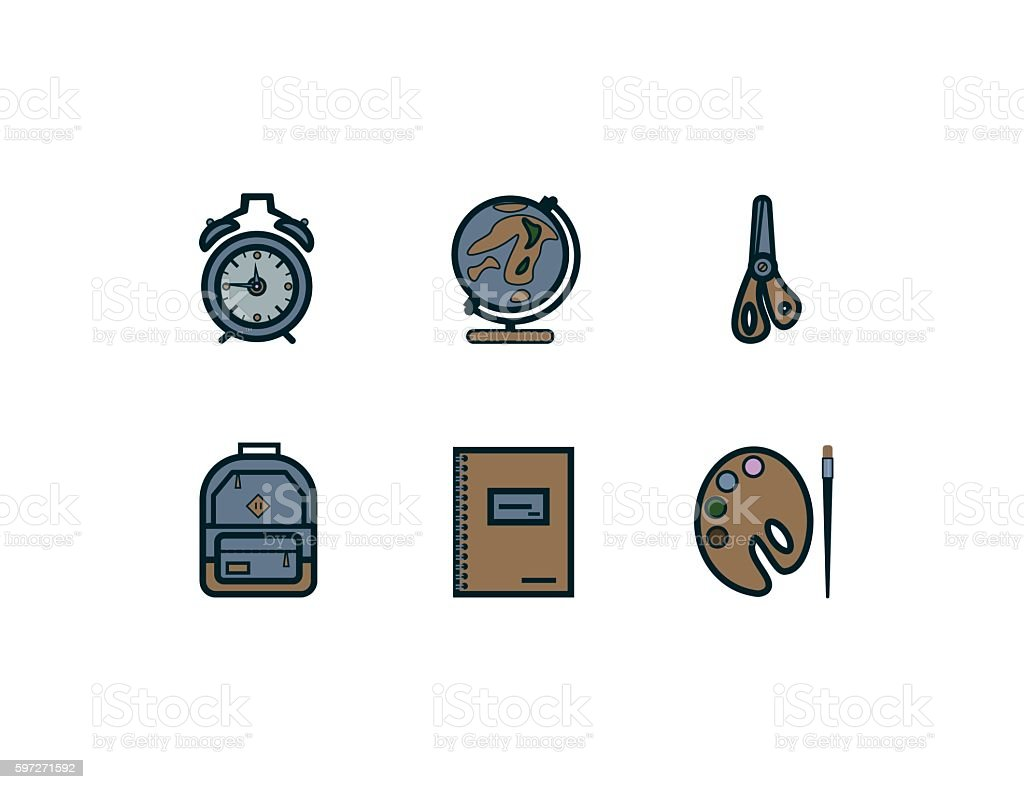 school icons flat royalty-free school icons flat stock vector art & more images of alarm clock