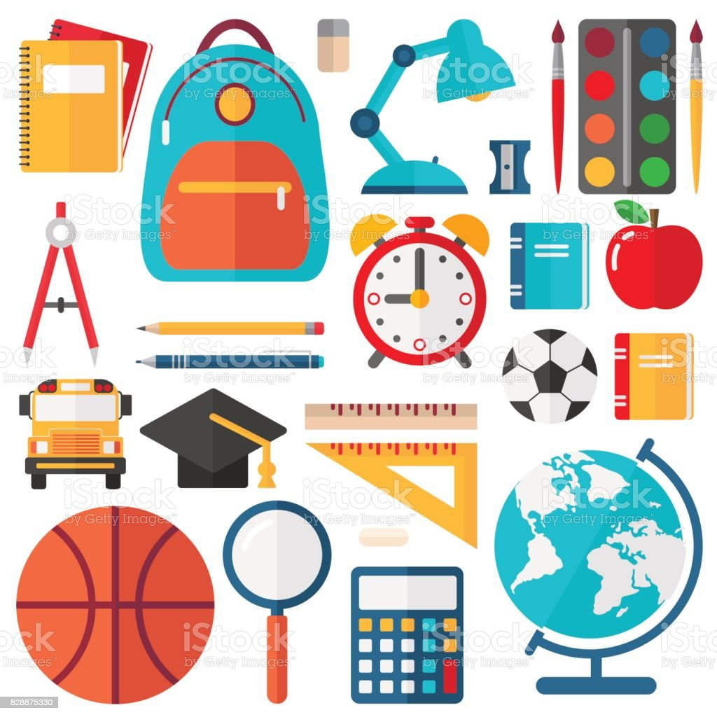 School Icons - platte Vector Set​​vectorkunst illustratie