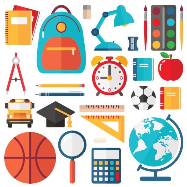 Bекторная иллюстрация School Icons - Flat Vector Set