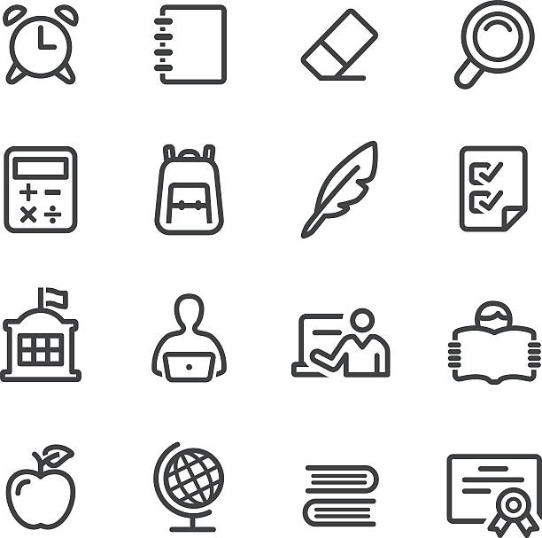 school icons - line series - part of a series stock illustrations, clip art, cartoons, & icons