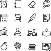 School Icons - Line Series