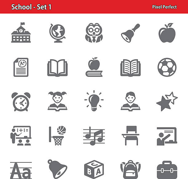 school icons - set 1 - primary school stock illustrations, clip art, cartoons, & icons