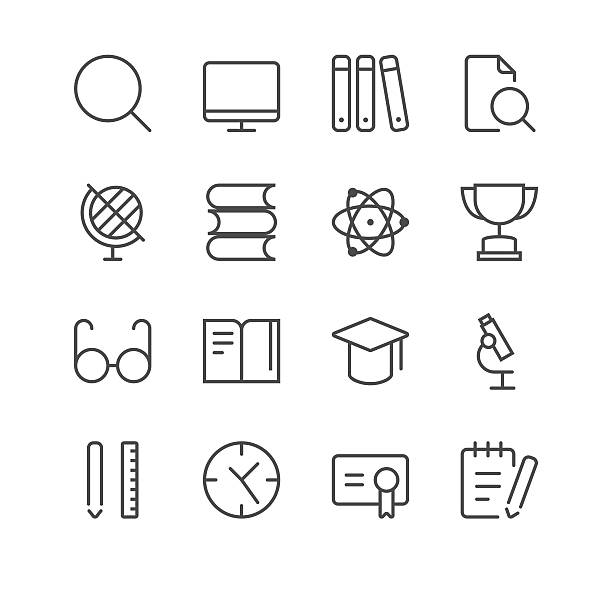 school icons set 2 | black line series - part of a series stock illustrations, clip art, cartoons, & icons