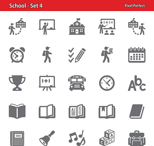school icons - set 4 - primary school stock illustrations, clip art, cartoons, & icons