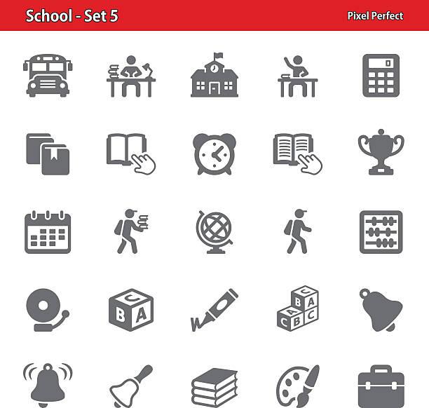 De iconos de la escuela-Juego 5 - ilustración de arte vectorial