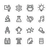 School Icons Set - Line Series