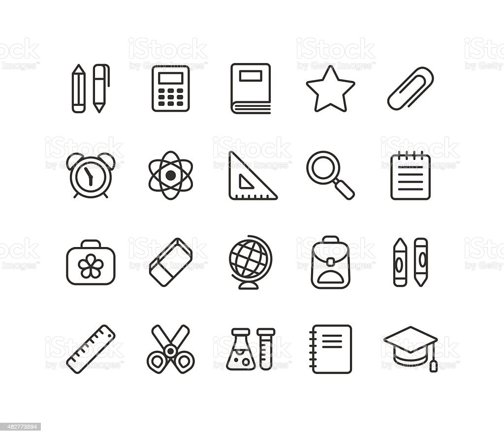 School icons vector art illustration