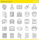 School linear vector icons. Thin line. Class register, school bus, bell. Abacus, rulers, backpack, calendar and academic cap