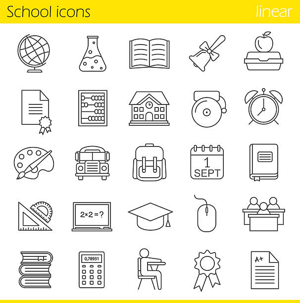 school icons - lunch box stock illustrations, clip art, cartoons, & icons